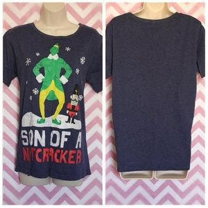 Christmas Tops - Elf Navy Blue Christmas T-Shirt Size L